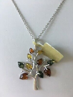 Baltic Amber S.S.Tree Of Life Necklace Pend. Made Poland New W.Tag, As Seen TVSN
