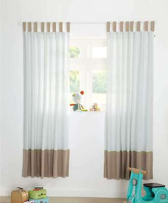 BN Mamas and Papas Pixie and Finch Boys Nursery Lined Curtains RRP £85