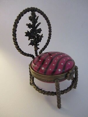 Signed Peint Main LIMOGES France RUSTIC CHAIR Hinged Trinket Box