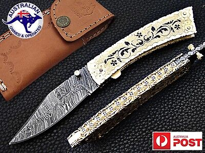 "Damascus Steel Handmade 7.5"" Camping Folding Pocket Knife - Hand Engraved Brass"