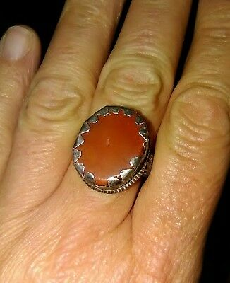 Antique Medieval Looking Sterling Silver & Carnelian Ring