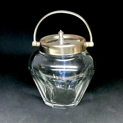 VINTAGE Lidded Glass Condiment Jar/Bowl With Silver Lid