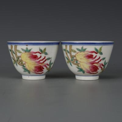 Beautiful A Pair Chinese Famille Rose Porcelain Bergamot Wine Cups