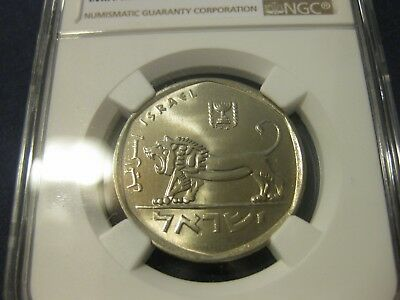 NGC cert 1979 Israel coin  5 Lirot Large LION animal MS 66 wow  nice coin