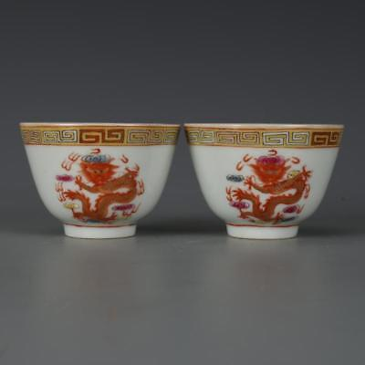 Beautiful A Pair Chinese Famille Rose Porcelain Dragons Wine Cups