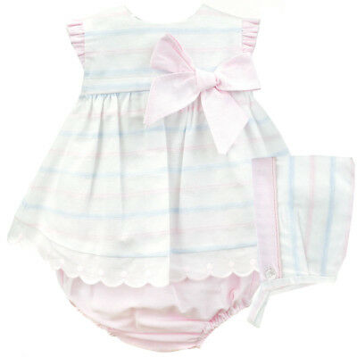 Baby Girls Pretty Spanish Large Bow Dress Pants & Matching Bonnet Set