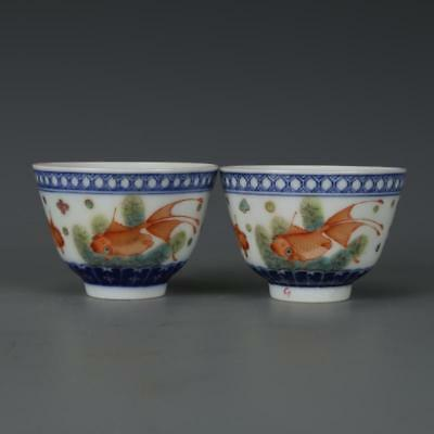 Beautiful A Pair Chinese Famille Rose Porcelain Goldfish Wine Cups