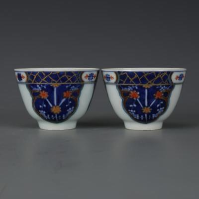 Beautiful A Pair Chinese Blue and White Porcelain Flowers Wine Cups