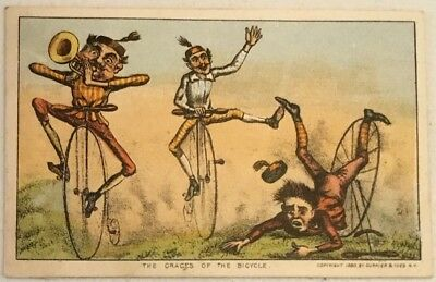 "Currier And Ives Trade Card ""The Graces Of The Bicycle"""