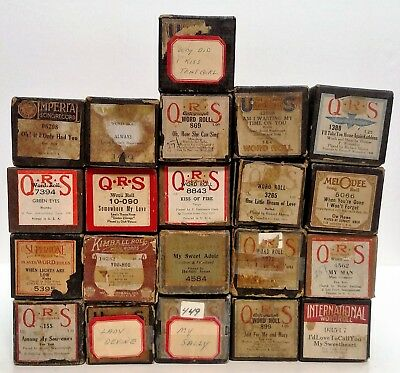 Lot Of 21 Vintage Player Piano Rolls: Kimball, Qrs, Us, Artempo,supertone