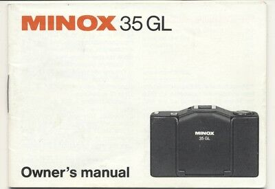 Minox 35 Gl Owners Manual, Complete Very Good Condition