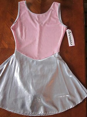 New Avenues Women's Tank Pink Velvet W/ Silver Hearts Dance Ice Skating Dress