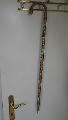 Vintage Wanderstock  Gehstock Holz German Walking Stick Deko viele Stocknägel
