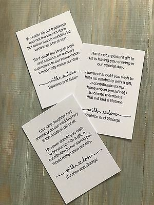 Personalised Wedding Gift Money Poem Small Cards Asking For Money 4