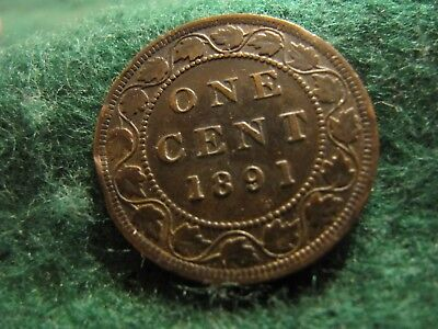 Canada 1 Cent 1891 Large Leaf Large Date Obverse 2 Variety Nice Condition