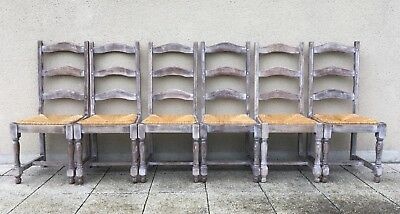 Vintage French 6 Solid Oak Ladder Back Rush Seat Dining Chairs Whitewashed  Look
