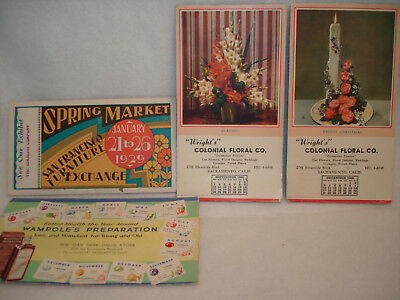 4 Vintage Advertising INK BLOTTERS