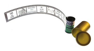 Personalised Wedding invitations in film strip style 35mm canister Vintage Retro