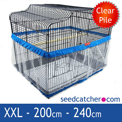 Bird Cage Seed Catcher Guard Tidy Pile Fabric Blue XXL 240cm Double Strap