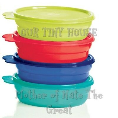 NEW Tupperware Microwave Cereal Bowls Set Impressions Blue Yellow Red Aqua