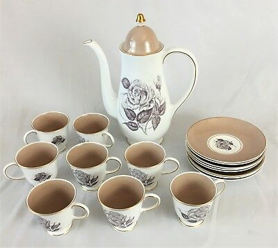 Susie Cooper 1950's Sepia Rose Coffee set with Coffee pot 8 cups 8 saucers