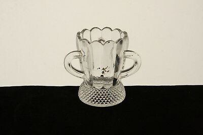 Antique Clear Glass Diamond Point Skirt Pattern 3 Handled Toothpick Holder Eapg