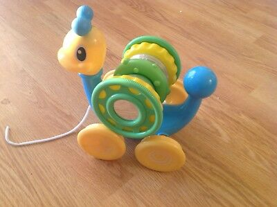 Snail pull along toy with sorting rings - baby toddler toy