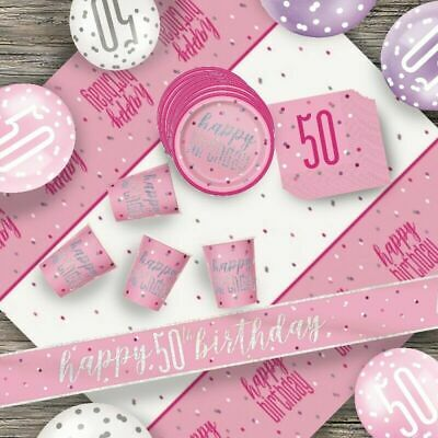Glitz Pink 50th Birthday Party Tableware Decoration Plates Banners Candle Age 50