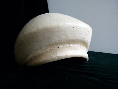 """Antique Brim Block Cap Style From Germany Wood Base & Painted 26"""" Circumerence"""