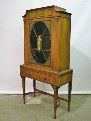Edwardian Adam Style Mahogany & Satinwood Cabinet With Inlay & Handpainting
