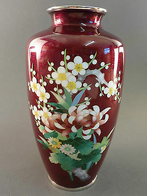 Fantastic Japanese Cloisonne Vase On Ox Blood Red Ground