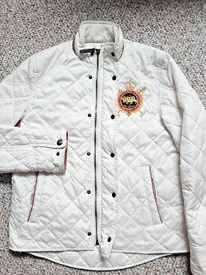 Polo Ralph Lauren SPORT White Equestrian Patched Quilted Jacket Sz M