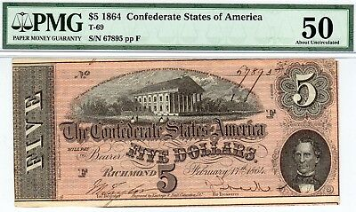 T-69 PF-10 $5 1864 Confederate Paper Money - PMG About Uncirculated 50!