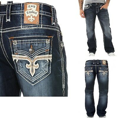 New - Rock Revival Mens Josef J200 Mens Straight Jeans - 29,30,31,32,34,36,38,40