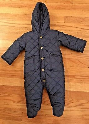 Polo Ralph Lauren Navy Blue Quilted Snowsuit Bunting 6 Months
