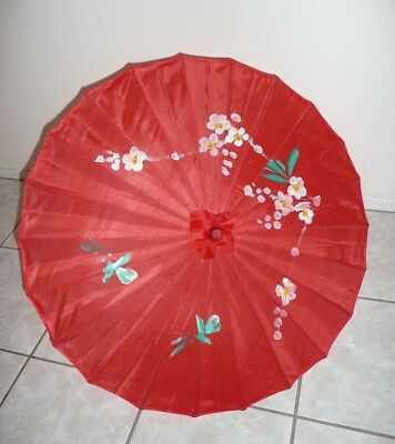 Vintage Hand Painted Simulated Silk Oriental Floral PARASOL w Bamboo Shaft Red