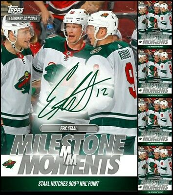 2018 MILESTONE MOMENTS SIGNATURE +4x BASE ERIC STAAL 900 POINT NHL Skate Digital