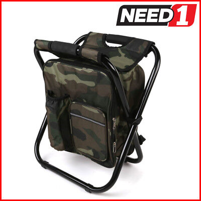 Portable Back Pack Fishing Chair with Nylon Camo Utility Bag