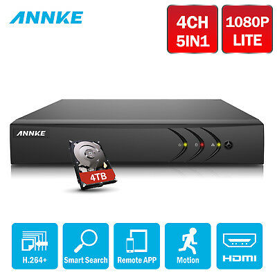 ANNKE 1080P Lite 4CH Channels 5IN1 DVR H.264+ Motion Email Picture 0- 4TB HDD