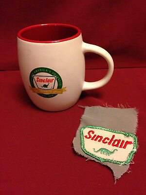 SINCLAIR GAS DINOSAUR  centennial coffee mug and vintage patch.