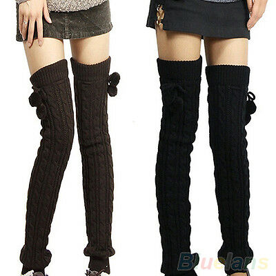 FX- Comely Womens Lady Crochet Knitted Stocking Leg Warmers Boot Thigh High Sock