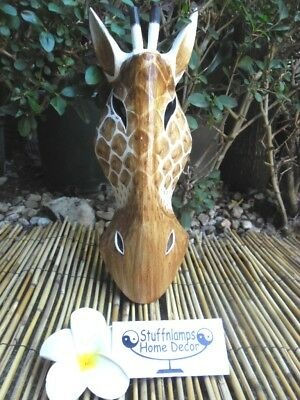 Bali Carved Giraffe Wall Mask hand crafted wall mount x 30cm