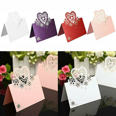 50X Ivory Heart  Cut Table Place Cards Name Number Wedding Party Decor 2018