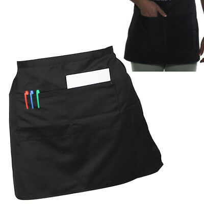 Fashion Short Waist Bistro Pocket Apron for Bar Cafe Pub Waiter Waitress Barista