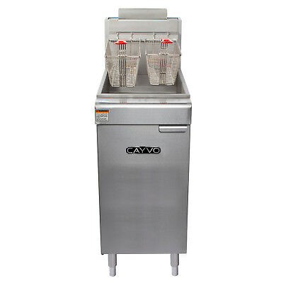 REFURB Cayvo CF50120N Commercial 4 Tube 50lb Floor Gas Fryer 120,000BTU NAT GAS