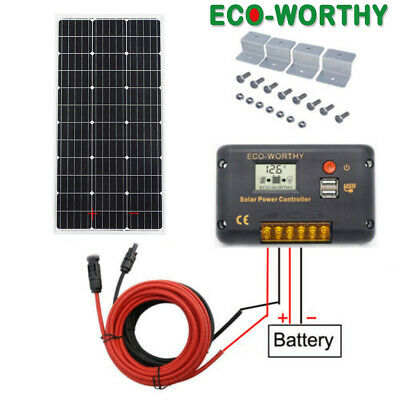 100W PV Solar Panel kit +20A Temperature Compensation controller Yacht Home Camp