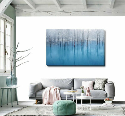 Blue Forest Canvas Print Framed Wall Art Home Office Shop Bar Decor Gift DIY