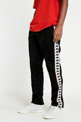 f0c0e7ede1c kappa mens retro track pants silky slim 90s new vintage black/ red poppers