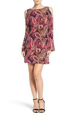 NWT Trina Turk Deon Paisley Jersey Cold-Shoulder Bell Sleeve A-Line Dress -Large