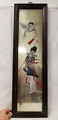 Antique Chinese Reverse Painting on Mirrored Glass with Woman and Bird
